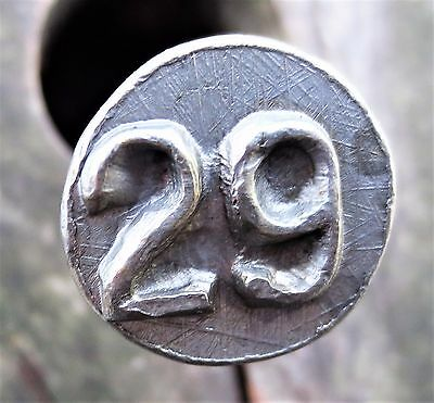 1929 Railroad Cross Tie Date Nail Round Head with Raised Numbers Cleaned Up TX6