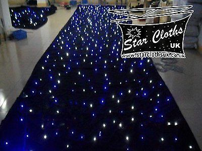 6m x 3m static black fabric starcloth with white & blue LEDs 6x3 LED backdrop