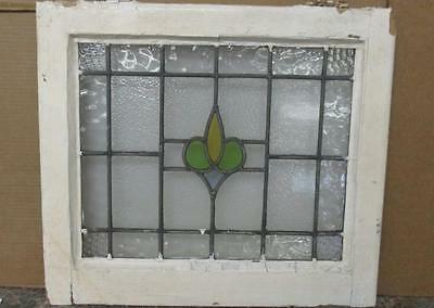 """OLD ENGLISH LEADED STAINED GLASS WINDOW Pretty, Centric Floral 20.25"""" x 17.75"""""""