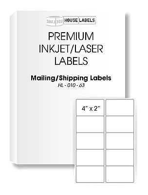 50 Sheets 500 Labels 4 x 2 Fast Peel White Address Shipping Labels 10 UP