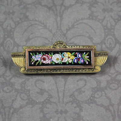 Antique Victorian Etruscan Revival Micro Mosaic Floral Bar Brooch