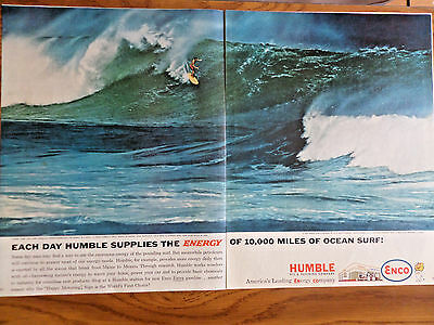 1962 Humble Oil Enco Ad Surfing Theme rare Sight Giant Hawaiian Comber