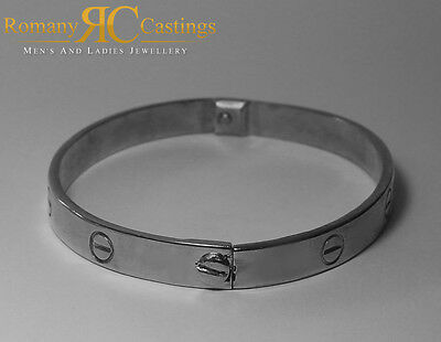 925 Sterling Silver Ladies Designer Screw Bangle Fully Stampted 26g 63 x 7 mm