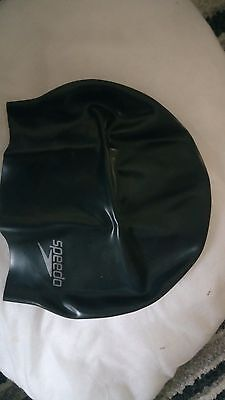 Speedo Black Silicone Moulded Swimming Cap Adult