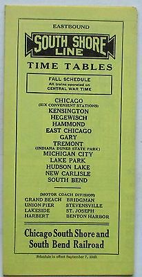 Chicago South Shore & South Bend Railroad 1943 Public System Timetable  9-7-43
