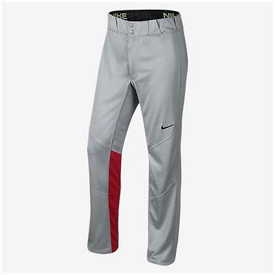 NEW Nike Vapor 1.0 Gray Red Long Unhemmed Baseball Pants Small 636808-053 MLB