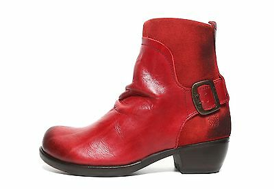 702b3a2e56bd5 FLY LONDON MEL Red Leather Zip Ankle Boots 6301 Size 36 M - $182.00 ...