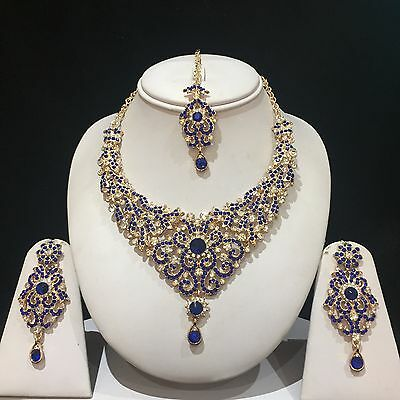 Blue Gold Indian Costume Jewellery Necklace Earrings Crystal Diamond Set New