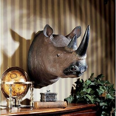 Giant Replica African Wildlife Rare Black Rhino Rhinoceros Wall Mounted Trophy
