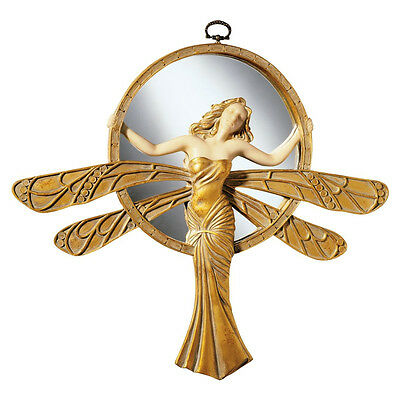 "11"" Art Deco Antique Replica Hanging Gold Toned Wall Mirror Dragonfly Lady"