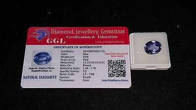 8.60 Cts Fantastic Top Luster Oval Blue Certified Tanzanite Gemstone
