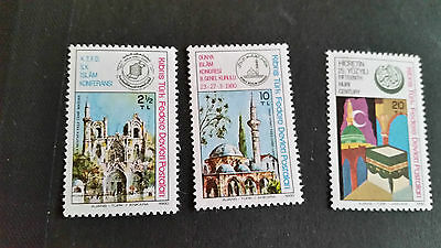 Turkish Cyprus 1980 Sg 88-90 Islamic Commemorations. Mnh