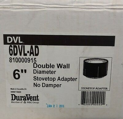 """Free ship DuraVent Home 6"""" Double-Wall Black Flue Stovepipe Connector Adapter"""