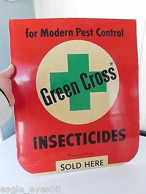 VINTAGE ORIGINAL 1950's GREEN CROSS INSECTICIDE TIN SIGN BUG INSECT SPRAYER NICE