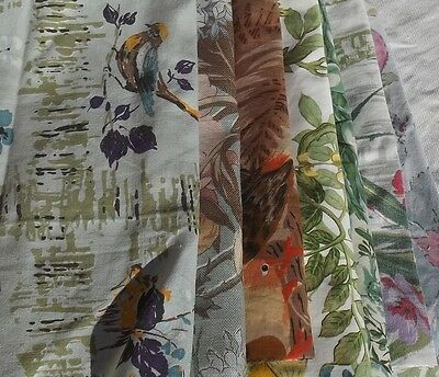 Beautiful pieces of Vintage French Chinoiserie fabric Songbirds Wisteria Peonies
