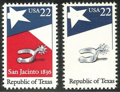 2204b - SCARCE Texas Color Error - Red Omitted - Never Hinged