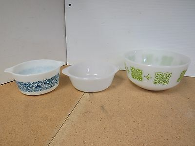 Lot of 3 Milk Glass Mixing & Serving Bowls Pyrex/Fire King/Glasbake J6C