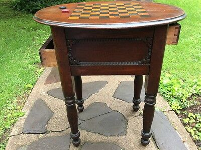 Country Style Sheridan Antique Walnut Game Table Chess Checkers