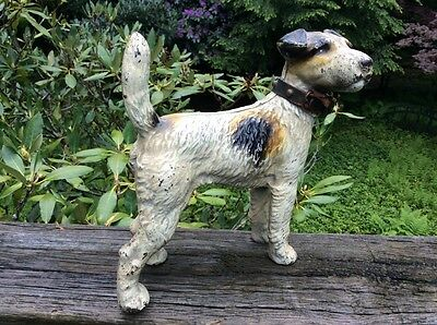 Antique Hubley Cast Iron Doorstop Terrier Airedale Wire Hair Fox Dog Great Paint