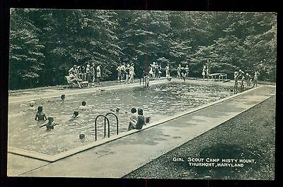 1959 Girl Scout Camp Misty Mount Swimming Pool Postcard - Thurmont,MD