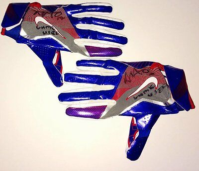 NFL team New York Giants Dwayne Harris signed Game Used Gloves with LOA