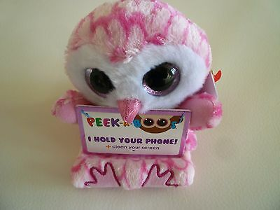 Ty Milly Pink Owl Brand New Peek A Boo Mobile Phone Holder Plush Beanie Soft Toy