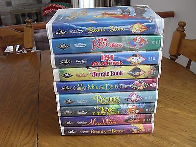 "Lot of 9 Walt Disney Black Diamond Series "" The Classics"" VHS Tape Cassettes"