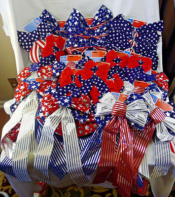 Large Lot 48 Patrotic Bows Flag Red White Blue Stars Stripes Decoration 4th July