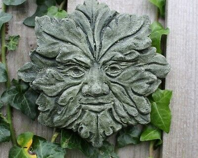 Summer Wiccan Wheel, Green Man, Stone Garden Wall Decor, Made in Cornwall, Gift