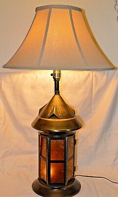 Vintage Rustic Brass Lamp Large 34 inches tall 24 inch shade lighted base & top