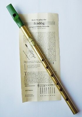 Feadog Traditional Irish Brass Whistle in Key of D, aka Tin / Penny Whistle