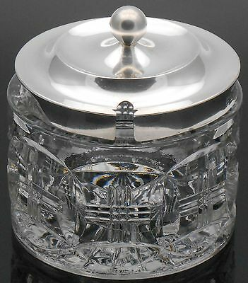 Sterling Silver & Glass Jam / Honey / Preserve Pot - Birmingham 1910