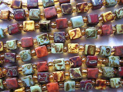 Vintage Deco Flapper Length Cube Agate glass Venetian Glass Beads Necklace