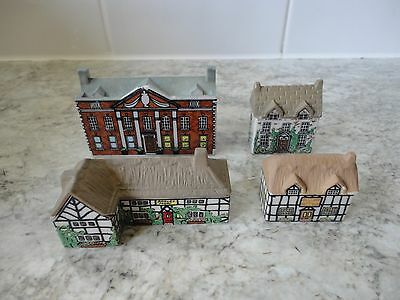 X 4 Collectable Vintage Wade Whimsie Houses