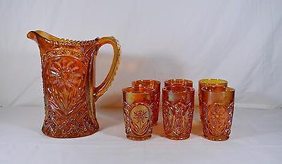 Imperial Marigold Carnival Glass Water Set - Mayflower - Pitcher & 6 Tumblers