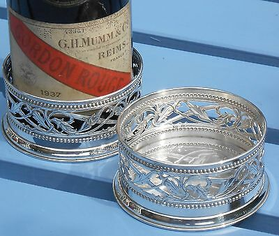 PAIR SILVER WINE BOTTLE COASTERS - ITALIAN 800 Standard 253g - VINTAGE