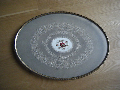 Antique Tray with Glass and Lace Insert - Brass - Footed Oval 15""