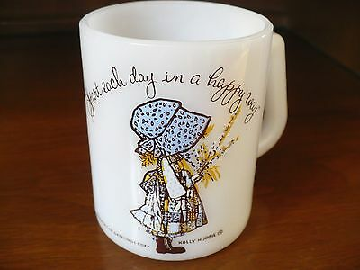 Vintage American Greetings Holly Hobbie Federal Milk Glass Coffee Cup Mug VGC
