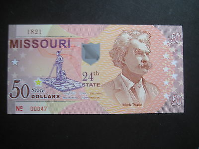 US STATES SERIES POLYMER $50 - 24th STATE -  MISSOURI 1821 - BRAND NEW