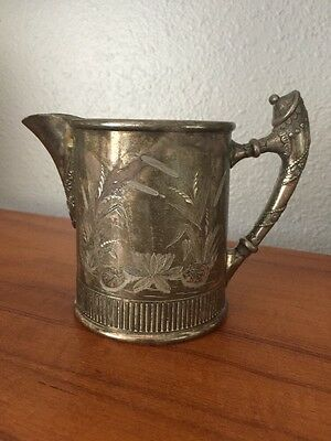 Rogers Silver Co., Quadruple, Creamer Cup with Etched Water Flowers, Antique!