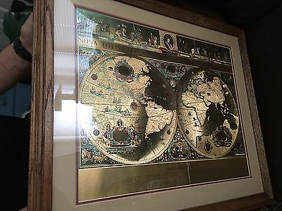 "Framed Gold Foil Blaeu Wall Map of Old and New World Approximately 22"" By 18"""