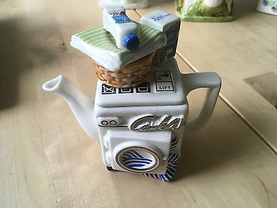 Cardew Teapot Made In England With Washing Machine Design W/ Basket Of Towels