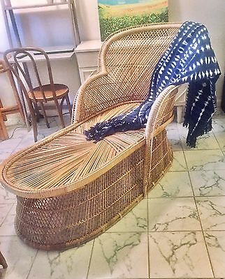 Vintage Mid Century Natural Rattan Wicker Peacock Chair Chaise Lounger