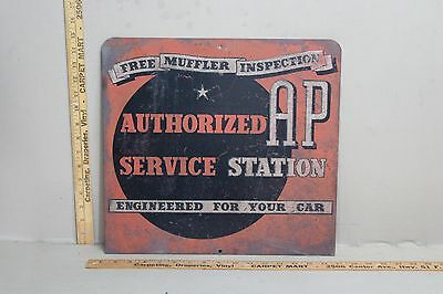RARE 1930's AP SERVICE STATION FREE MUFFLE INSPECTION METAL GAS OIL SIGN TEXAS