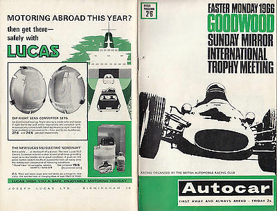 Easter Monday 1966 Goodwood Sunday Mirror International Trophy Programme.