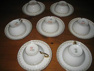 VINTAGE LIMOGES ELITE WORKS 7 CUPS & SAUCERS SHAMROCKS & ROSES c 1920-1932