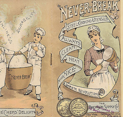 Never-Break Steel Cooking Pots Pans Bronson Supply NY c 1890 Advertising Booklet