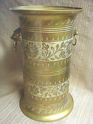 Very Old SOLID BRASS URN w/ LION HEAD HANDLES - Handcrafted in India - #1235N