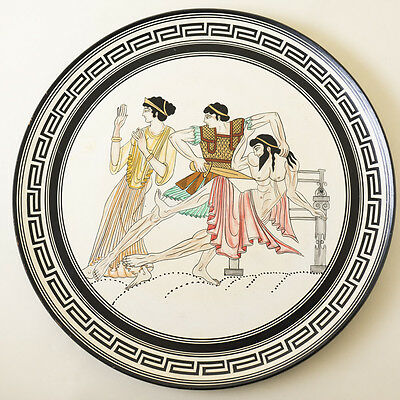 Vtg Greek Pottery Wall Plate Reproduction Art Greece Museum Copy Plaque Achilles