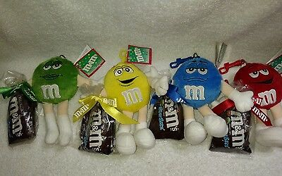 "M&M's Red, Blue, Yellow & Green 6"" Plush Keychain Characters"